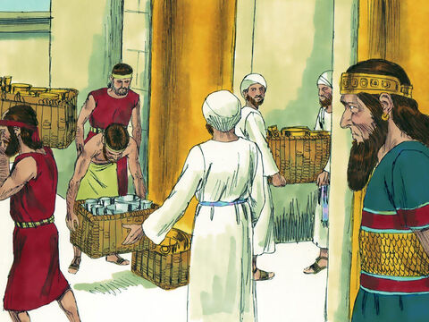 Earlier in his reign Asa had given silver and gold to the temple treasury. He now gave orders for the Temple treasury to be raided, and gold and silver to be gathered and sent to King Ben-Haddad of Aram as a bribe. – Slide 7