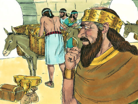 The Temple treasure arrived in Damascus with a message from King Asa, 'Let there be a treaty between Judah and Aram as there was between my father and your father. I am sending you silver and gold. Now break your treaty with King Baasha of Israel so he will have to withdraw.' – Slide 8