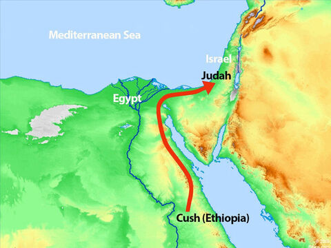 King Zerah from Cush (modern day Ethiopia) decided to march his vast army to attack Judah. – Slide 6