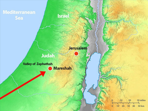 King Zerah and his soldiers approached Judah from the south. Asa gathered his troops and they took up battle positions in the valley of Zephathah near Mareshah. – Slide 8