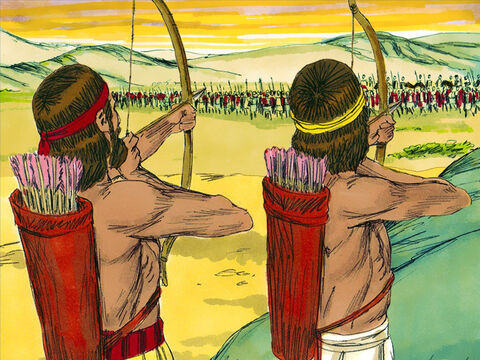 The battle began. King Asa's soldiers with their bows, arrow and spears against the chariots and fighters from Cush. – Slide 12