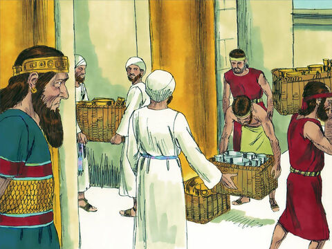 The King brought into the temple silver and gold articles that he and his father had dedicated to God. There was no more war until the 35th year of King Asa's reign. (This story continues with a set of images at FreeBibleimages.org entitled 'King Asa fails to trust God and faces conflict'). – Slide 21