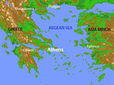 This map shows the position of Athens in ancient Greece. – Slide 1
