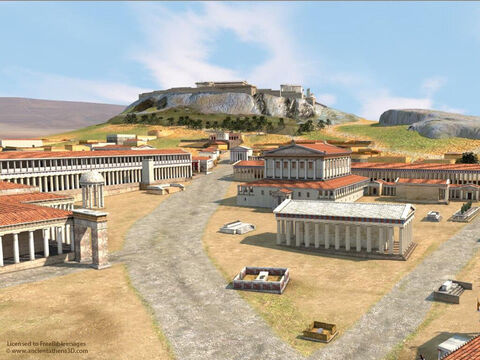 This 3D reconstruction of Athens (around 400BC) by Dimitris Tsalkanis shows the market place (Agora) in foreground. Mars Hill (the Areopagus) is the long rocky flat surface in the background right. The judges of Areopagus met there. Image used with permission from Ancient Athens 3D. – Slide 2