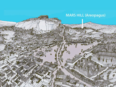 This illustration shows Mars Hill with the Acropolis rocky outcrop in the background left. – Slide 3