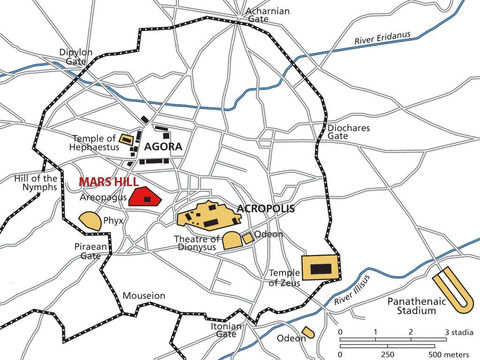 A city map of Athens in the New Testament period. Athens gets its name from Athena the goddess of war. – Slide 4