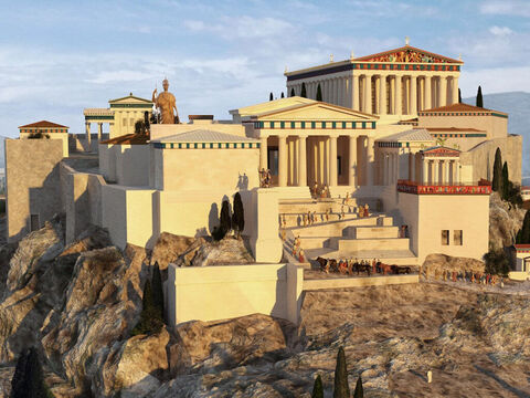 A 3D reconstruction of the Acropolis in New Testament times by John Goodinson. Behind the entrance (known as the Propylaea), stood a gigantic bronze statue of the goddess Athena. The base was 1.50m (4ft 11in) high, while the total height of the statue was 9m (30ft). The goddess held a lance whose gilt tip could be seen as a reflection by crews on ships rounding Cape Sounion. – Slide 5