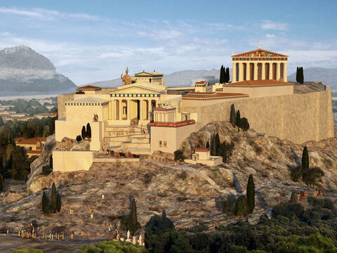 The Greeks worshipped the Olympian gods Zeus Athena, Apollo, Poseidon, Hermes, Hera, Aphrodite, Demeter, Ares, Artemis, Hades, Hephaistos, and Dionysos. One of the ancient writers tells us that at this time there were 30,000 gods in Athens! Peterronius, one of the ancient historians, said that it was easier to find a god in Athens than a man! – Slide 8