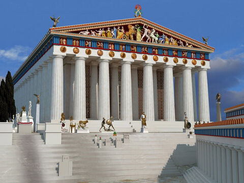 A 3D reconstruction of the Parthenon by John Goodinson. The temple was dedicated to the goddess Athena, whom the people of Athens considered their patron – Slide 10