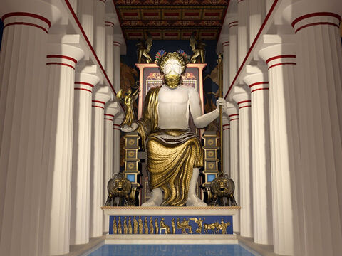 Reconstruction of the figure of Zeus in the Temple of Zeus by John Goodinson. Zeus was thought to be the god of sky and thunder who ruled as king of the gods. The statue was over 10m (30ft) tall and was made of ivory and gold. Zeus wore a robe, crown, and carried his mighty thunderbolt in one hand and a smaller statue of Nike in the other. – Slide 11