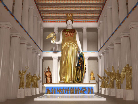 Reconstruction of the goddess Athena in the Parthenon by John Goodinson. The image was over 10m (30ft) tall and showed the goddess in an elaborate helmet, a breastplate of snakes' scales, and a traditional Athenian peplos (robe). Athena was the goddess of war and considered to be the daughter of Zeus. Her shield was decorated with battle scenes. She held a small statue of Nike, the goddess of victory, in her outstretched right hand. – Slide 12