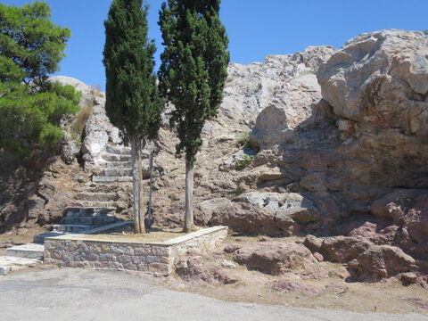 The steps up to Mars hill (the Areopagus) where the Apostle Paul, having seen all the temples and idols in Athens, delivered his message about the altar 'to the unknown god' (Acts 17:16-34). – Slide 14