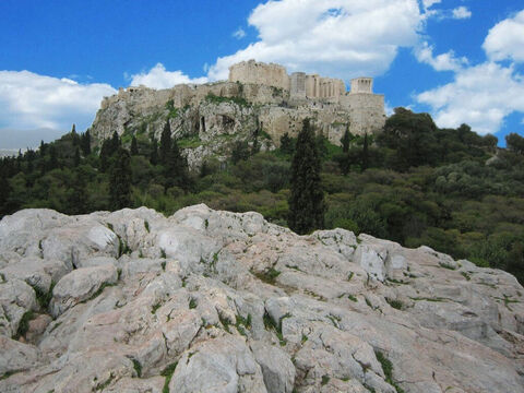 The view of the Acropolis today as viewed from Mars Hill (the Areopagus). – Slide 15