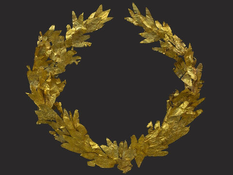 A picture of the victor's golden laurel wreath awarded to winners at Greek athletic events. Paul refers to the victor's crown (Stephanos) in 1 Corinthians 9:25 and 2 Timothy 2:5. – Slide 19