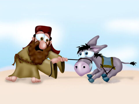 They reached a point where the road narrowed and there were walls on both sides. The donkey suddenly startled and crashed into the wall, crushing Balaam's foot. Ouch! – Slide 5