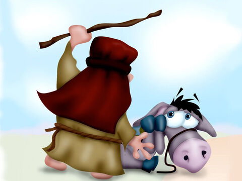 Balaam was furious and felt humiliated in front of the King's officials. So he beat his donkey again. Then they continued on their journey. – Slide 6