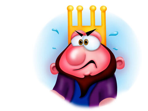 King Balak took Balaam to another place where we could see about half of the Israelites. 'At least curse half of my enemies,' King Balak insisted. But again God told Balaam to bless the Israelites and he did. The king was furious. – Slide 13
