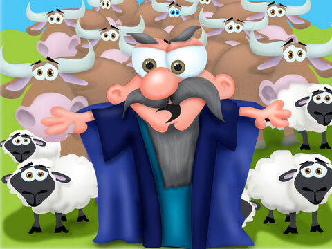 Nearby lived a rich man man called Nabal who was known to be a proud and selfish. He was married to a beautiful woman called Abigail. Nabal owned large herds and flocks and David and his men protected Nabal's shepherds. No harm was done to any of his animals and none were taken for food. – Slide 2