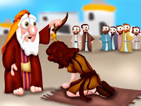 After King Saul was disobedient, God told Samuel, 'Take some oil and go to Bethlehem. Find a man named Jesse as one of his sons will be the next king of Israel.' Jesse brought out seven of his sons in age order, the oldest first, but God rejected each one as King. Samuel then sent for Jesse's youngest son, David, who was looking after Jesse's sheep. God said David was to become the next king, so Samuel anointed him with oil and the Holy Spirit empowered the young lad. – Slide 1