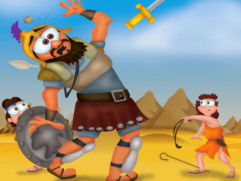 David reached into his pouch, took out a stone and placed it in his slingshot. David hurled it toward Goliath. The stone hit the giant on his head. and he fell down dead. David had trusted in God and overcome the giant. – Slide 7