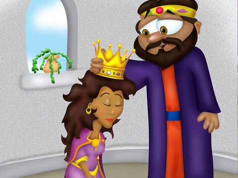 Now there was a Jewish man named Mordecai who lived very close to the palace. He had a cousin named Esther, who was very beautiful. <br/>Esther was spotted by the King's servants and taken off to be in the beauty contest. Mordecai warned her not to tell anyone that she was a Jew. <br/>For a year Esther was pampered with beauty treatments and given expensive clothing and jewelry. <br/>The women were presented to the king one by one. When the King Xerxes met Esther he was so taken with her that he placed the crown on her head right then and there! – Slide 4