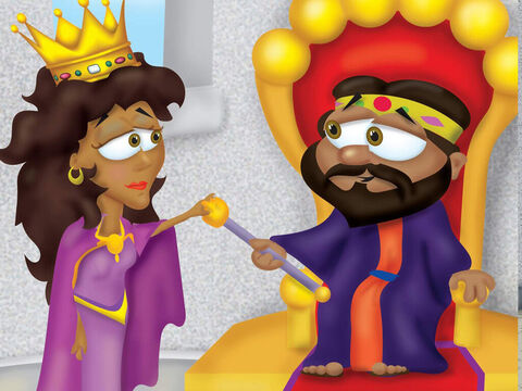 To go into the King's court without being summoned was punishable with death. Three days later, Esther put on her royal gown and entered the inner court – would the king welcome her or execute her? The king held out his gold sceptre to let her enter his presence. <br/>'What is your request my queen?' he asked. <br/>Esther responded, 'If it please the king, let your Majesty and Haman come to a special banquet I have prepared.' – Slide 10