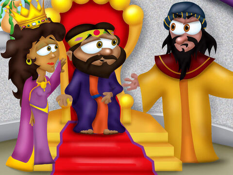 That evening, the king and Haman went to the banquet that Queen Esther had prepared for them. After a while the king asked Esther, 'So what is it you want?' <br/>'Please spare me and my people,' Esther begged. 'A decree has been sent out to kill me and my people.' <br/>'Who would dare touch you?' the King demanded. <br/>'It is the evil Haman, my lord. He is our enemy.' Haman grew pale with fright, he did not know Esther was a Jew. – Slide 17