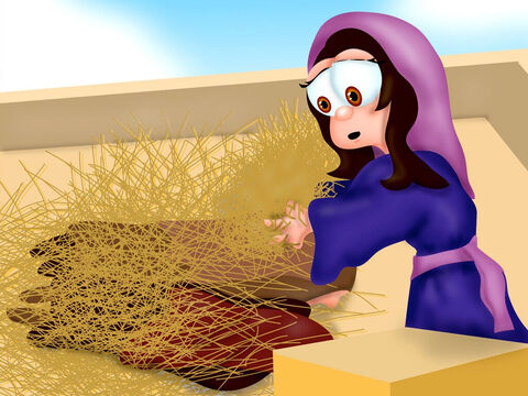 The men searching for the spies went to Rahab's house. Rahab hid the spies under some hay on the roof of her house before opening the door. <br/>Rahab said the men had been there but she didn't know they were spies. 'They left and went toward the hill country,' she told them. The King's men rushed off to search the nearby hills. – Slide 4
