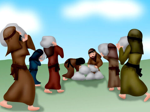 When all the people were across the river, God spoke to Joshua and told him to choose twelve more men and have them each take a large stone from the middle of the river and bring it to the bank of the river where the people crossed and put them in a pile. – Slide 10
