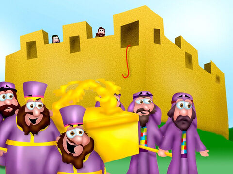 The Israelites approached Jericho and marched around the wall with the Ark. The priests with horns were in the lead. The people were quiet. The sound of the horns was all that could be heard for six days as they marched around the city once a day. <br/>Rahab and her family waited patiently as they were gathered in her home, which was built right into the wall, the red rope hanging from her window. – Slide 14