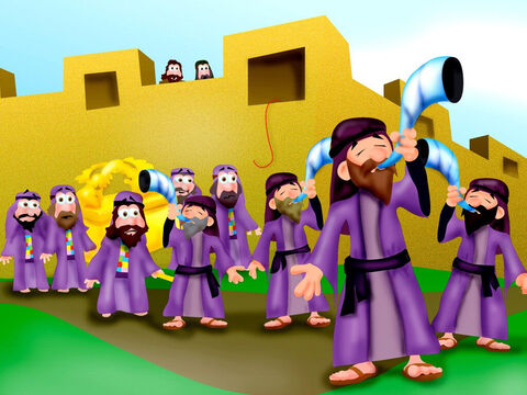 Then on the seventh day they marched around the walls seven times. The priests gave a loud long blast from their horns and all the Israelites gave a mighty shout! – Slide 15