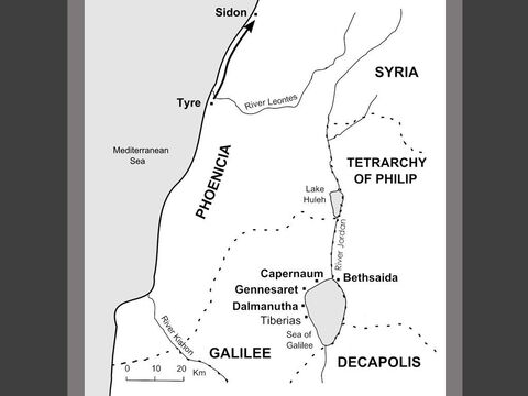 Jesus journeys north to Sidon, a prosperous port in Phoenicia. (Mark 7:31) – Slide 23