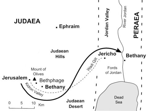 Jesus's journeys near Jerusalem. <br/>Jesus leaves Jerusalem and follows the road down to Jericho, then crosses the River Jordan to Bethany beyond the Jordan. (John 10:40-42) – Slide 29
