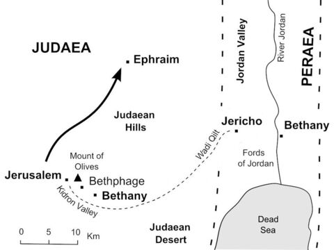 Jesus withdraws to Ephraim to avoid being arrested by the chief priests. (John 11:54) – Slide 31