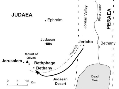 Jesus climbs the road from Jericho towards Jerusalem and sends two disciples ahead to borrow a donkey. (Mark 11:1-7) – Slide 33