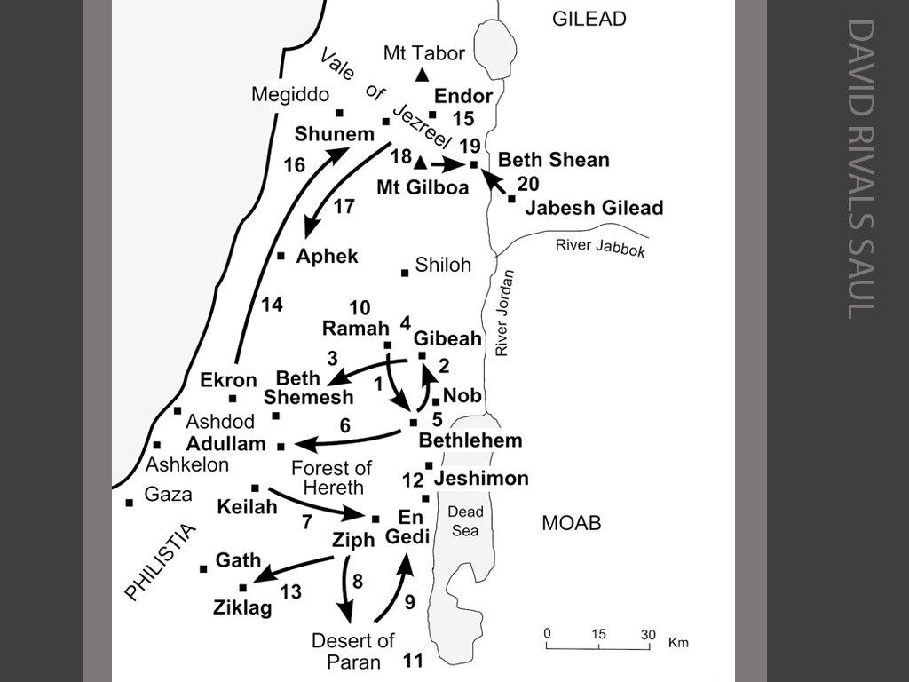 Map Of En Shemesh: FreeBibleimages :: Journeys Of The Kings And Prophets