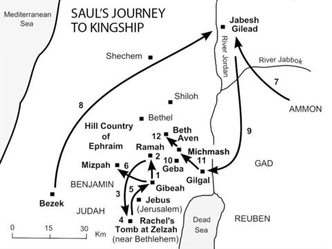 "Saul's journey to kingship.<br/> 1. In his old age, Samuel appoints his sons Joel and Abijah to be 'Judges' at Beersheba. But they are dishonest men, so the people gather at Ramah and plead with Samuel for a strong king ""like all the other nations"" (1 Samuel 8:1-5) Samuel - reluctant at first - begins his search for a suitable leader. In the spring, Saul – an impressive looking forty-year-old – goes in search of his father's donkeys, from Gibeah (in Benjamin) to Shalishah, Shaalim and Zuph (1 Sam 9:1-13). <br/>2. At Ramah, Saul and his father's servant consult Samuel about the missing donkeys. Samuel immediately recognises the young man as God's appointed leader, and anoints Saul as King of Israel (1 Sam 9:14-10:1). <br/>3. Samuel tells Saul to go to Rachel's tomb at Zelzah near Bethlehem where two men will tell him that the donkeys have been found (1 Sam 10:2-8). <br/>4. As Saul turns to leave, he becomes a new person as the Spirit of God comes upon him in power (1 Sam 10:9). <br/>5. When he arrives home at Gibeah, Saul begins prophesying as he joins a group of prophets singing and dancing (1 Sam 10:10-16). <br/>6. Samuel calls the people together and publicly proclaims Saul king at Mizpah (1 Sam 10:17-27). <br/>7. A month later, King Nahash of Ammon beseiges Jabesh Gilead (1 Sam 11:1-7). <br/>8. Saul rallies the Israelite forces at Bezek and defeats the Ammonites at Jabesh (1 Sam 11:8-11). <br/>9. Saul is confirmed as king at Gilgal (1 Sam 11:12-15). <br/>10. Saul prepares to fight the Philistines by luring them into the hill country of Ephraim, north of Jebus (Jerusalem). In an act of defiance, Saul's son Jonathan demolishes the Philistine 'pillar' (Hebrew, 'netsib', meaning  a 'pillar' or standing stone erected to indicate Philistine overlordship of the area) at Geba (1 Sam 13:1-7). <br/>11. Meanwhile, Saul summons the men of Israel to join him at Gilgal. The Philistines hear that Jonathan has demolished the pillar and see this as a challenge to their authority. They assemble a huge army of soldiers and head for the Michmash Pass leading down to Gilgal. Jonathan secretly attacks and kills twenty Philistines at Michmash Pass. As a result, the Philistines are thrown into panic (1 Sam 14:1-14). <br/>12. Jonathan's forces at Geba join battle at Michmash and beat the Philistines, who are in total confusion. They pursue them along the floor of the valley all the way to Beth Aven (1 Sam 14:15-23). – Slide 1"