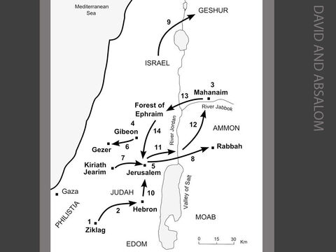 David and Absalom. <br/>1. News of the battle at Mt Gilboa is brought to David at Ziklag. David mourns the deaths of Saul and Jonathan (2 Sam 1:1-16). <br/>2. David (who belonged to the tribe of Judah) is anointed king of the southern kingdom of Judah at Hebron (2 Sam 2:1-7). <br/>3. Ishbosheth, Saul's son, is declared king of the northern kingdom of Israel at Mahanaim by Abner, Saul's commander.  David, however, also has a direct claim to the throne of Israel as he is Saul's son-in-law (2 Sam 2:8-11). <br/>4. War breaks out between the House of Saul and the House of David. An armed contest between twelve of David's men and twelve of Ishbosheth's men is arranged at Helkath Hazzurim ('field of swords') beside the Pool of Gibeon. David's men defeat the Israelites (2 Sam 2:12-17). <br/>5. The war between Judah and Israel continues for seven years. Eventually, Abner goes over to David's side, but is killed by Joab, one of David's commanders. Ishbosheth is murdered by two of his own men. David is anointed King of Israel at Hebron. David captures Jerusalem from the fiercely independent Canaanite tribe of Jebusites. He moves his capital to Jerusalem and lives in the Fortress of Zion which he calls the City of David (2 Sam 3:1-5:10). <br/>6. The same year, the Philistines attack David at the Valley of Rephaim. David defeats them at Baal Perazim . Later, he pursues the Philistines from Gibeon all the way to Gezer (2 Sam 5:17-25). <br/>7. David brings the Ark of the Covenant from Kireath Jearim to Jerusalem (2 Sam 6:1-23). <br/>8. One evening, David sees a beautiful woman bathing from the roof of his palace. David demands that the woman is brought to him. When she becomes pregnant, David sends her husband, Uriah the Hittite, to be killed at the seige of Rabbah (2 Sam 11:1-27). <br/>9. David's son Amnon rapes his half-sister Tamar. Two years later, Tamar's brother, Absalom, kills Amnon in revenge. Absalom flees to his maternal grandfather, the king of Geshur (2 Sam 13:1-37). <