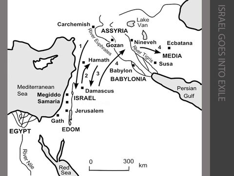 Israel goes into exile. <br/>1. King Tiglath-Pileser III ('Pul') of Assyria invades Israel in 738BC. He is paid off by King Menahem of Israel and withdraws (2 Kings 15:19-22). <br/>2. In 733BC, during a civil war in Israel, Tiglath-Pileser of Assyria takes advantage of the turmoil to capture the northern cities of Kadesh and Hazor, and all the towns of Gilead, Galilee and Naphtali. He deports the conquered Israelites to Assyria in 732BC (2 Kings 15:29-31). <br/>3. King Rezin of Syria beseiges Jerusalem in 731BC. King Ahaz of Judah sends messengers to King Tiglath-Pileser of Assyria, asking for his help and offering to be subservient to him. Tiglath-Pileser responds by capturing Damascus and killing King Rezin (2 Kings 16:1-9). <br/>4. King Hoshea of Israel conspires against Assyria by forging a treaty with Egypt. King Shalmaneser of Assyria  seizes Hoshea and lays seige to Samaria for nearly three years. Eventually, Samaria and the whole northern kingdom of Israel fall in 722BC The Israelites are led into exile in Assyria by the new king, Sargon II, in 720BC. They are taken to Halah, Gozan (on the River Habor) and to the towns of Media, between Susa and Ecbatana (2 Kings 17:3-23). – Slide 6