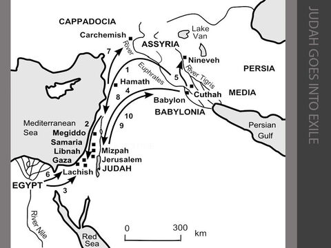 Judah goes into exile. <br/>1. After the fall of the northern kingdom of Israel in 722BC, people from other parts of the Assyrian empire are brought to settle in Samaria to replace the Israelites (2 Kings 17:24-41). <br/>2. The new king of Assyria, Sargon's son Sennacherib, takes some time to establish his rule. But during the fourteenth year of King Hezekiah's reign (in 702BC), he attacks Judah, and occupies and destroys Lachish in order to punish his rebellious neighbour (2 Kings 18:13-37). <br/>3. The people are terrified at Sennacherib's threat to destroy Jerusalem, but the prophet Isaiah tells King Hezekiah that the Assyrians will be defeated. The Egyptians, under Prince Taharka, honour their defensive treaty with Judah by sending an army to fight the Assyrians (2 Kings 19:1-37). <br/>4. During Hezekiah's illness, envoys arrive in Jerusalem in 712BC from Marduk II, King of Babylon (2 Kings 20:12-21). <br/>5. The Assyrians and the Babylonians have been at war for many years. Matters come to a head when, in 612BC, the Babylonians conquer Nineveh, the capital of Assyria. <br/>6. When Pharaoh Neco of Egypt comes to the aid of Assyria in 610BC, this leads to the death of King Josiah of Judah at the Battle of Megiddo (2 Kings 23:29-35). <br/>7. The Babylonians are determined to get their revenge on Egypt, and in 606BC, Pharaoh Neco is defeated by King Nebuchadnezzar of Babylon at the Battle of Carchemish. <br/>8. The following year (605BC), King Nebuchadnezzar of Babylon invades Judah and King Jehoiakim is forced to become a vassal king (2 Kings 24:1-9). <br/>9. In 598BC, Nebuchadnezzar beseiges Jerusalem. King Jehoiachin surrenders and ten thousand Judaeans are taken captive to Babylonia. Jehoiachin is taken to Babylon and Zedekiah is installed in his place as a puppet king (2 Kings 24:10-20). <br/>10. King Zedekiah of Judah rebels in 589BC and Jerusalem is beseiged for over a year and a half by King Nebuchadnezzar. Eventually the walls are breached in July 587BC. Z