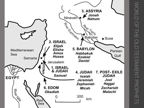 The world of the Old Testament Prophets. <br/>1. The United Monarchy of Israel and Judah <br/>Samuel acted as a prophet in the 11th century BC, anointing Saul in c.1012BC and later anointing David as king of Israel and Judah. <br/>2. The Northern Kingdom of Israel (Samaria) <br/>Elijah prophesied to King Ahab of Israel between c.870 and c.853BC.<br/>Elisha continued Elijah's prophetic ministry from c.852 to c.842BC. <br/>Amos and Hosea denounced social injustice in Israel between c.760BC and c.725BC. <br/>3. Assyria (Nineveh) <br/>Jonah preached a message of judgement to Nineveh before the defeat of Israel in 722BC. <br/>Nahum celebrated the destruction of Nineveh by the Babylonians in 612BC. <br/>4. The Southern Kingdom of Judah (Jerusalem) <br/>Micah spoke against both Israel and Judah between c.747 and c.722BC. <br/>Isaiah, son of Amoz, spoke between c.737 and c.716BC, predicting the fall of Israel and Judah. The second part of the Book of Isaiah contains words of comfort to the exiles in Babylonia following the fall of Jerusalem in 587BC (Chapters 40-55), then encourages the exiles who have returned to Jerusalem after 537BC to be faithful in their worship of the LORD (Chapters 56-66). <br/>Jeremiah and Zephaniah warned the people of Jerusalem before its fall in 587BC that it would be judged for its unfaithfulness to God. <br/>5. Babylon <br/>Habbakuk, speaking before the fall of Jerusalem in 587BC, asked why God allowed the cruel Babylonians to succeed. <br/>Ezekiel, exiled to Babylon in 598 BC, predicted the fall of Jerusalem in 587BC and, later, spoke about the return of the exiles to Israel. <br/>Daniel was in exile in Babylon at the same time as Ezekiel. He was persecuted for his faith during the period between 598 and 539BC. <br/>6. Edom  <br/>Obadiah foretold the punishment of Edom after the country took advantage of Jerusalem's fall in 587BC. <br/>7. Post-exile Judah (Jerusalem) <br/>Haggai and Zechariah spurred on the returned exiles to rebuild the Templ
