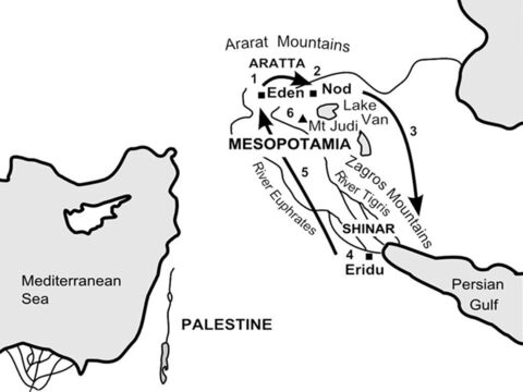Journeys from Eden to Ararat (close up) <br/>1-3 (See previous map) <br/>4. God's heart is filled with pain at the violence and wickedness of mankind and sends a flood to destroy much of what He has created. He decides to save Noah and his family and instructs them to build a boat (an 'ark') out of cypress wood. (Genesis 6:1-7:24) <br/>5. After forty days and forty nights of rain, the boat eventually comes to rest on the lower slopes of the mountains of the Ararat range. (Genesis 8:1-22) – Slide 2