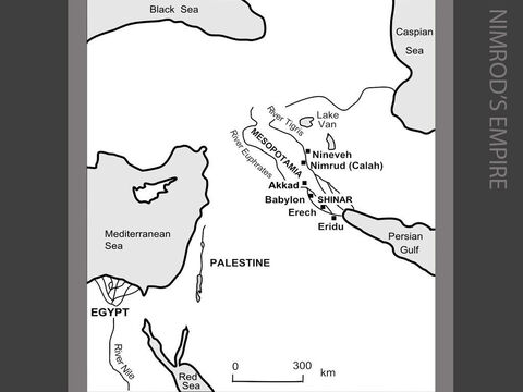 Nimrod's Empire. <br/>Included among the descendants of Ham is Nimrod (meaning, in Hebrew, 'We shall rebel') described as the world's first great conqueror. His fortified cities included Babylon, Erech and Akkad in Babylonia (southern Iraq). His descendants later built Nineveh and Nimrud (Calah) in Assyria (northern Iraq). It is 'Nimrod the hunter' whom the Jewish historian Josephus tells us was the king who built the Tower of Babel and rebelled against God. (Genesis 10:8-12) – Slide 4