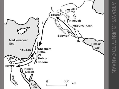 """Abram's journey to Canaan. <br/>1. Terah and his family (including his sons Abram and Nahor, and his grandson Lot) live at Ur in Mesopotamia. They decide to move from Ur and follow the River Euphrates upstream to Haran. (Genesis 11:27-32) <br/>2. God calls Terah's son Abram to """"Leave your country… and go to the land I will show you."""" He establishes a covenant agreement with Abram to give his family the 'promised land' of Canaan. Abram and his nephew Lot set out for Canaan with their tents and flocks. (Genesis 12:1-5) <br/>3. Abram arrives in Canaan and builds an altar by the sacred tree of Moreh at Shechem. (Genesis 12:6-7) <br/>4. Abram moves to the hill country between Bethel and Ai, then moves south towards the Negev Desert. Driven by drought and famine, Abram and Sarai journey along the Way of Shur to the well-watered lands of the Nile Delta in Egypt. (Genesis 12:8-20) <br/>5. Abram and Sarai are forced to flee from Egypt to the hill country near Bethel. (Genesis 13:1-9) <br/>6. Abram and Lot decide to separate. Lot chooses the fertile, well-watered Jordan Valley and pitches his tents near Sodom. (Genesis 13:10-13) <br/>7. Abram moves to the great oaks of Mamre near Hebron and builds an altar there. (Genesis 13:18) – Slide 6"""