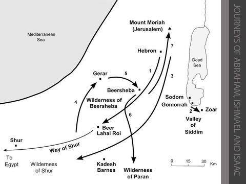 """Journeys of Abraham, Ishmael and Isaac. <br/>1. God renews His covenant with Abram at Hebron and promises to give the land between Egypt and the River Euphrates to his descendants. (Genesis 15:1-21) As his wife Sarai is barren, Abram conceives a child by Hagar, his Egyptian slave girl. But Sarai ill-treats Hagar and she flees south into the desert. The angel of the LORD meets Hagar at a spring in the desert on the road to Shur. He tells her to return, so Hagar returns to Abram at Hebron and Ishmael is born.  (Genesis 16:1-16) <br/>2. God reveals to Abraham that He is going to destroy Sodom and Gomorrah because of their wickedness. Abraham pleads with God to save the few righteous inhabitants (including his nephew, Lot). (Genesis 18:17-33) Two angels arrive at Sodom. Lot insists that they stay overnight with him. They urge Lot and his family to """"run to the mountains"""" during the night and """"don't look back."""" Lot runs as far as a small town nearby called Zoar, and is saved from the cataclysm that follows. (Genesis 19:1-29) <br/>3. Abraham moves from Hebron to the Negev Desert between Kadesh and Shur. (Genesis 20:1) <br/>4. Later he stays at Gerar. (Genesis 20:2) <br/>5. Abraham is forced to move again, and settles in Beersheba. (Genesis 20:3-18) <br/>6. After Isaac is born, Sarah becomes hostile to his elder half-brother Ishmael and his mother Hagar, Abraham's Egyptian slave. Hagar and her son are forced to leave and wander in the Wilderness of Beersheba. (Genesis 21:1-19) – Slide 8"""