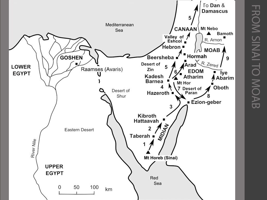 Freebibleimages Maps Showing The Exodus And Journeys In Canaan Up