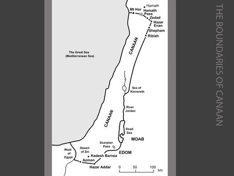 The boundaries of Canaan. <br/>The boundaries of Canaan are mapped out and elders are appointed to assign the land after the conquest to the remaining nine and a half Israelite tribes. The 'promised land' is to stretch from Mt Hor in the north to the Wadi of Egypt in the south. Provisions are made to allocate towns and pasture land to the Levites. Six of the settlements are to become 'cities of refuge', to which a person who has killed someone accidentally may flee. (Numbers 34:1-35:34) – Slide 5