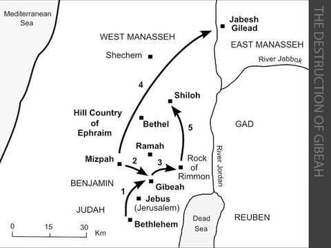 The destruction of Gibeah.  <br/>1. A Levite from the hill country of Ephraim takes a concubine from Bethlehem in Judah, but she is unfaithful and returns to her father in Bethlehem. The Levite persuades her father to let the young woman return with him to Ephraim. They set off late in the day and, as dusk falls, they decide to stay overnight with an old man in Gibeah. The men of Gibeah (who are of the tribe of Benjamin) rape and abuse the concubine and she dies on the doorstep outside the house. The news of this appalling murder spreads quickly throughout Israel. (Judges 19:1-30)  <br/>2. The elders of the tribes of Israel assemble at Mizpah to discuss an appropriate response to this atrocity. The Benjamites refuse to hand over the perpetrators of the crime, so the Israelites attack the Benjamites outside Gibeah. (Judges 20:1-43) <br/>3. The Benjamites are defeated and Gibeah is burned to the ground. A few hundred Benjamites escape into the desert to the Rock of Rimmon, overlooking the Jordan valley. (Judges 20:44-48) <br/>4. The Israelites assembled at Mizpah had previously made an oath forbidding the marriage of their daughters to a Benjamite. The elders now discover that no-one from Jabesh Gilead had attended the assembly. They send a fighting force to slaughter the adult inhabitants of Jabesh Gilead as a punishment, and they return with four hundred young women who are offered as wives to the remaining Benjamites. (Judges 21:1-14) <br/>5. Those Benjamites who have not been given a wife as part of this peace treaty are encouraged to abduct one of the young women from Shiloh during the annual religious festival.  (Judges 21:15-25) – Slide 9