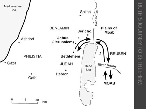 Ruth's Journey to Bethlehem.  <br/>1. Towards the end of the period of the 'Judges', during seventy years of Philistine rule, there is a severe famine in Canaan. Two Israelites, Elimelech and his wife Naomi, travel east from Bethlehem in Judah, cross the River Jordan and settle in the land of Moab.  (Ruth 1:1-2) <br/>2  Some time later, Elimelech dies, and their two sons marry Moabite women. About ten years later, both the sons also die. Naomi decides to return alone to Bethlehem from Moab, but one of her daughters-in-law, Ruth (a Moabite), is determined to go with her and care for her.  Ruth goes to pick up leftover grain in a field belonging to a relative of Naomi. She gains the favour of Boaz, the landowner, and he agrees to help Ruth and Naomi by buying a plot of land which belonged to Naomi's husband, Elimelech. Boaz buys the land from Naomi and then marries Ruth in order to keep the ownership of the land within Elimelech's family. Ruth and Boaz have a son, Obed. He becomes the father of Jesse, the father of King David. In due course, Bethlehem becomes the 'City of David'. (Ruth 1:3-4:22) – Slide 10