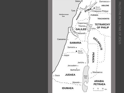 Palestine at the time of Jesus.   <br/>When Jesus was born in 5 or 6BC, Herod the Great had been ruling for nearly thirty-three years (37BC – 4BC) as a friend and ally of Rome, and was given the title 'King of the Jews' by the Roman senate. Herod was King of Judaea, Samaria, Idumaea, Galilee, Peraea, Ituraea and Trachonitis. (Matthew 2:1) – Slide 3